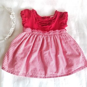 👑 Old Navy 0-3m Dress Red & White Check